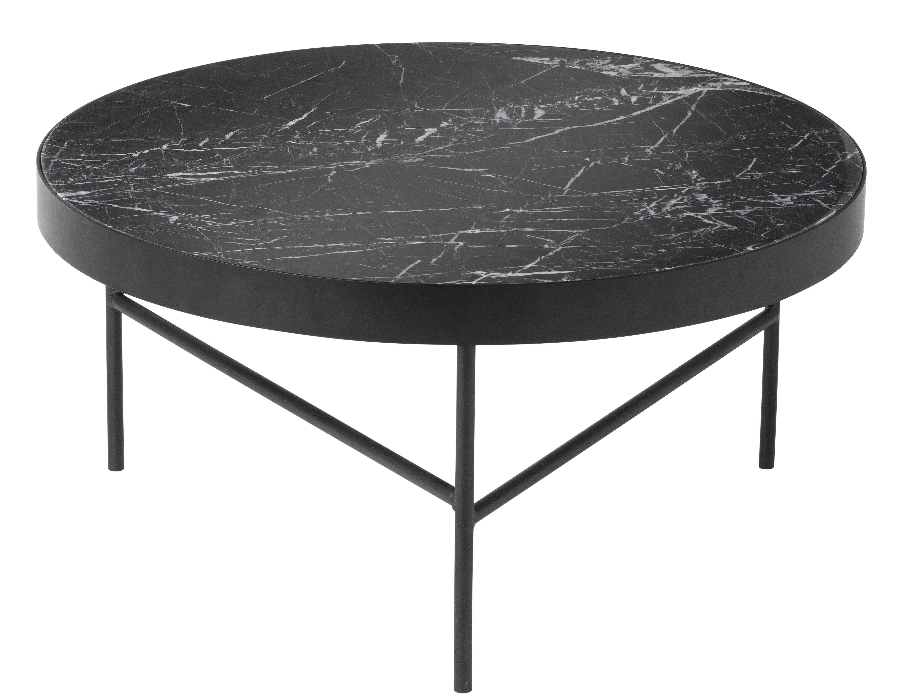 Möbel - Couchtische - Marble Large Couchtisch / Ø 70,5 x H 35 cm - Ferm Living - Tischplatte schwarz / Tischbeine schwarz - bemaltes Metall, Marmor