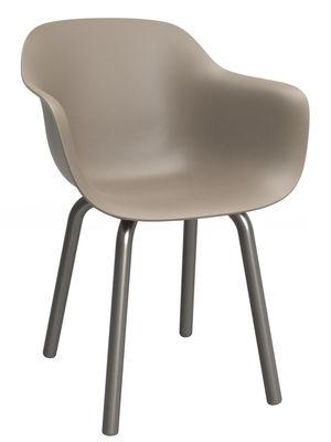 Mobilier - Chaises, fauteuils de salle à manger - Fauteuil Substance / Plastique & pieds métal - Magis - Beige / Pieds gris foncé - Aluminium verni, Polypropylène