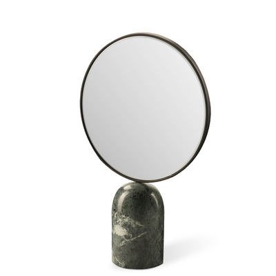 Decoration - Mirrors - Round Free standing mirrors - / Marble by Pols Potten - Green - Glass, Lacquered metal, Marble