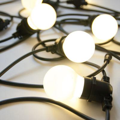 Luminaire - Luminaires d'extérieur - Guirlande lumineuse extérieur Bella Vista WHITE / LED - Ampoules blanches / L 14 mètres - Seletti - Guirlande / Câble noir & ampoules blanches - Caoutchouc