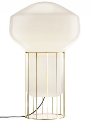 Lighting - Free standing lamps - Aérostat Media Lamp by Fabbian - Brass structure / White diffuser - Brass plated metal, Opalin mouth blown glass
