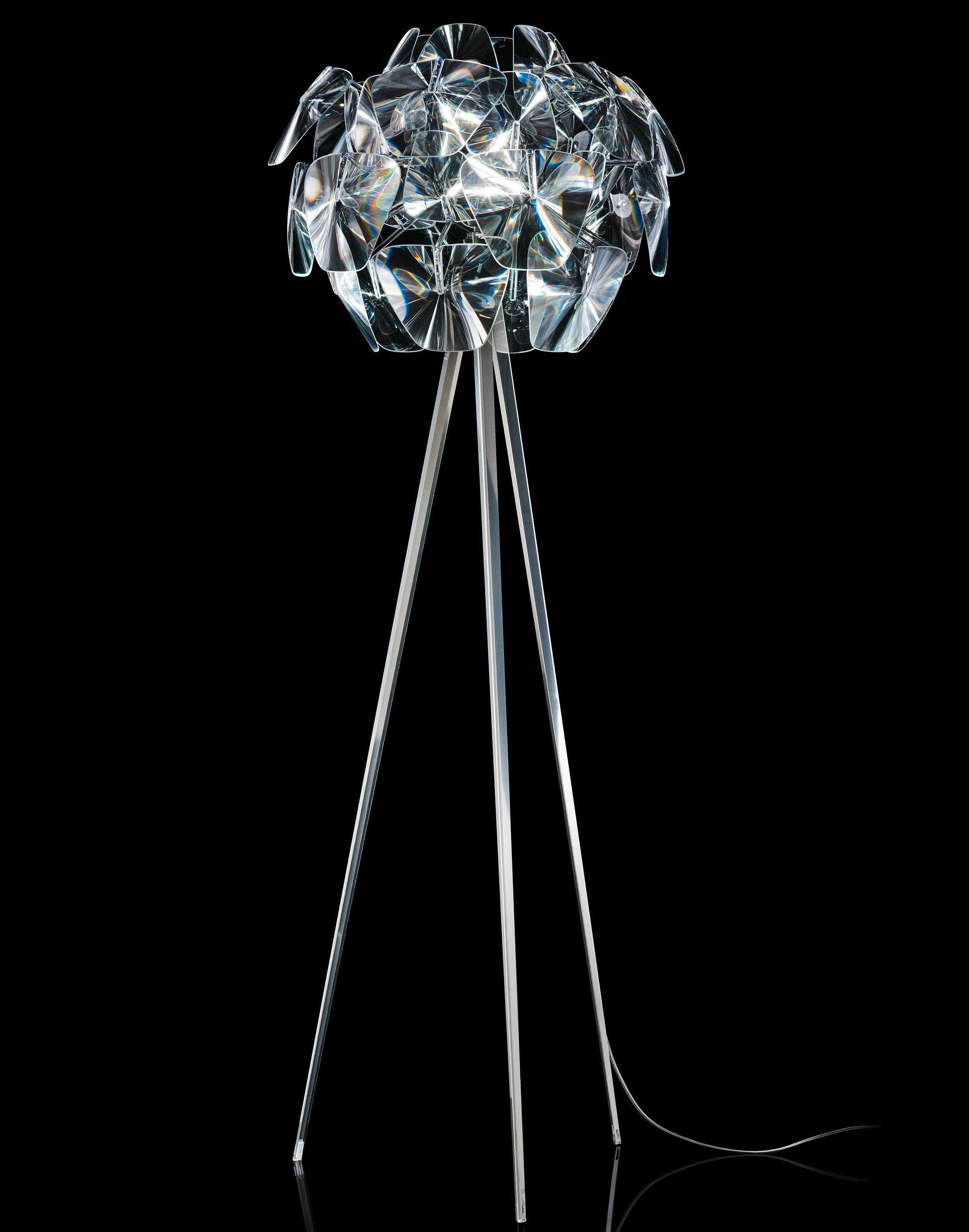 Illuminazione - Lampade da terra - Lampada a stelo Hope - / treppiede - H 198 cm di Luceplan - Trasparente - Lampada treppiede - Acciaio inossidabile lucido, policarbonato