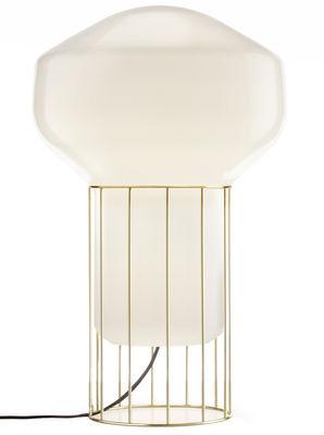 Illuminazione - Lampade - Lampada Aérostat Media - / H 53 cm di Fabbian - Struttura ottone / diffusore Bianco - Metallo placcato ottone, Vetro soffiato opalino