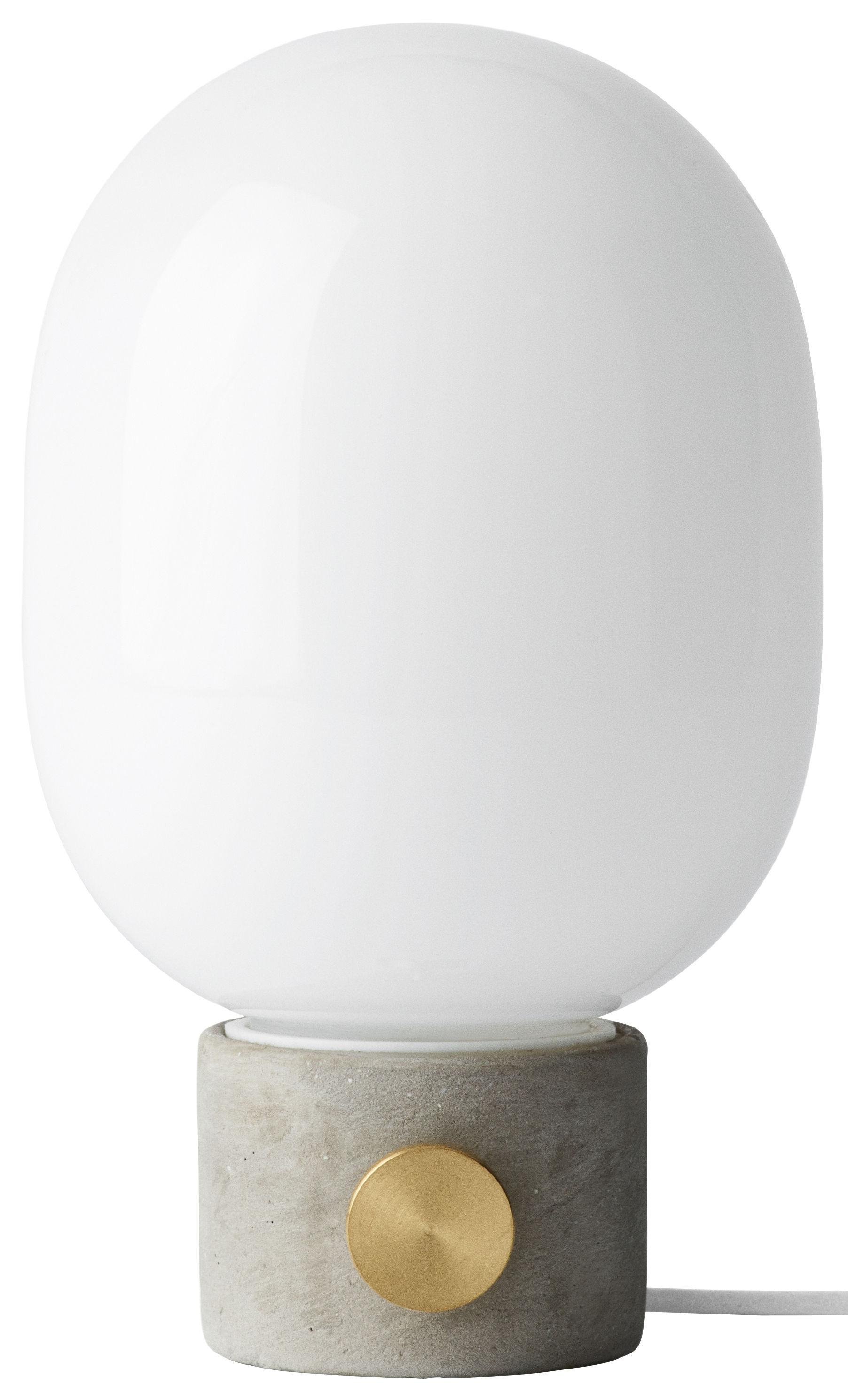 Illuminazione - Lampade da tavolo - Lampada da tavolo JWDA - / Cemento di Menu - Cemento grigio / Diffusore bianco - Calcestruzzo, Ottone, Vetro