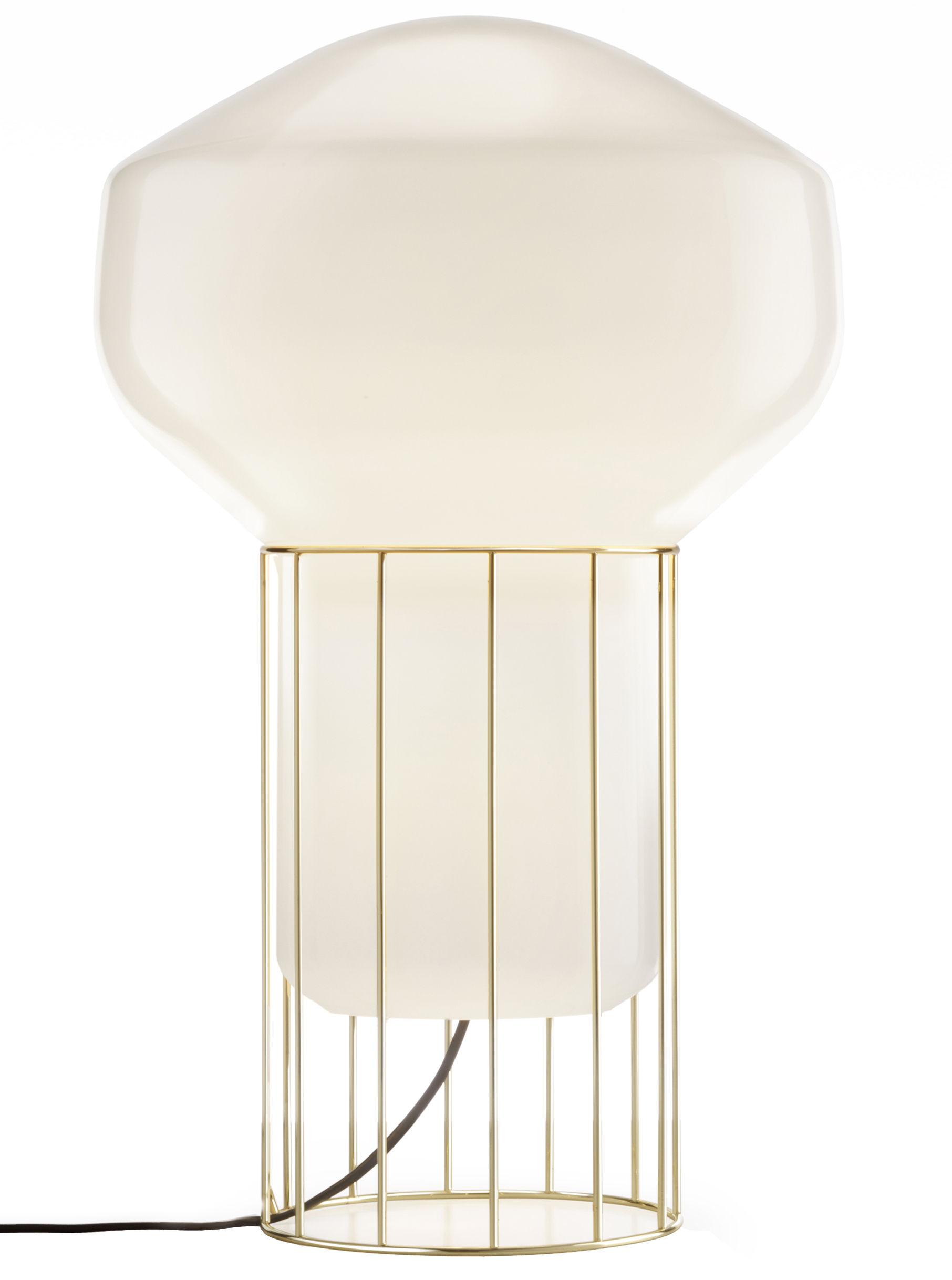 Leuchten - Bodenleuchten - Aérostat Media Lampe / H 53 cm - Fabbian - Gestell: messingfarben / Diffusor: weiß - Métal plaqué laiton, Verre soufflé opalin