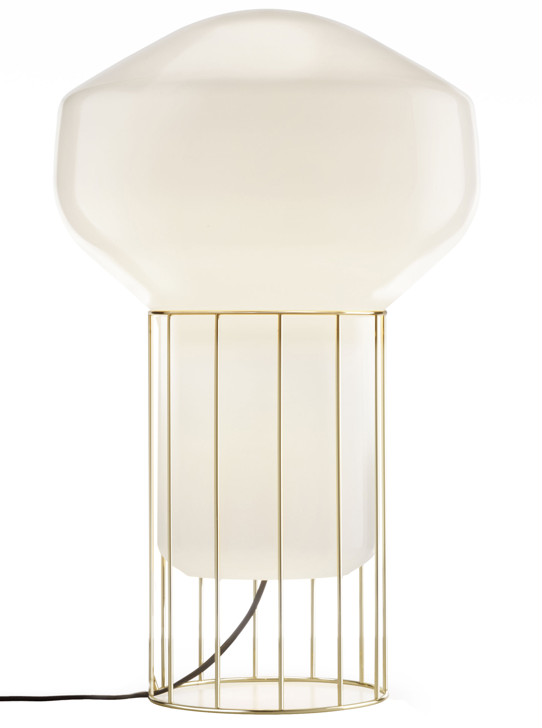 Luminaire - Lampes de sol - Lampe Aérostat Media / H 53 cm - Fabbian - Structure laiton / Diffuseur blanc - Métal plaqué laiton, Verre soufflé opalin