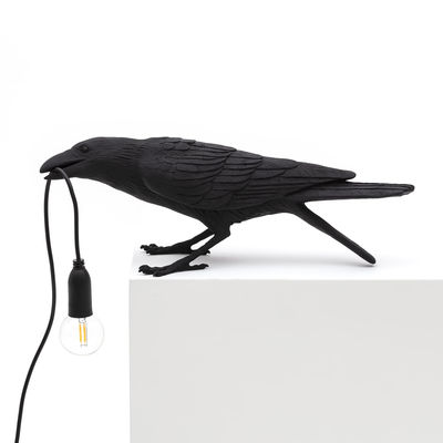 Luminaire - Lampes de table - Lampe de table Bird Playing / Corbeau joueur - Seletti - Corbeau joueur / Noir - Résine