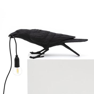 Lampe de table Bird Playing / Corbeau joueur - Seletti noir en matière plastique