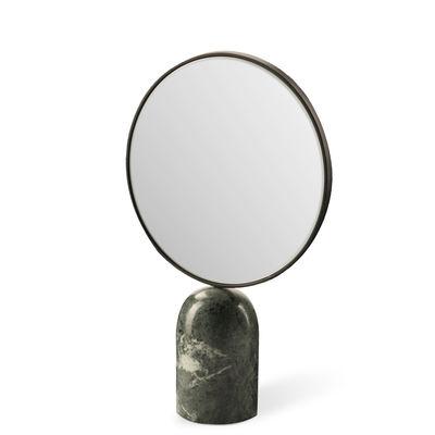 Déco - Miroirs - Miroir à poser Round / Marbre - Pols Potten - Vert - Marbre, Métal laqué, Verre