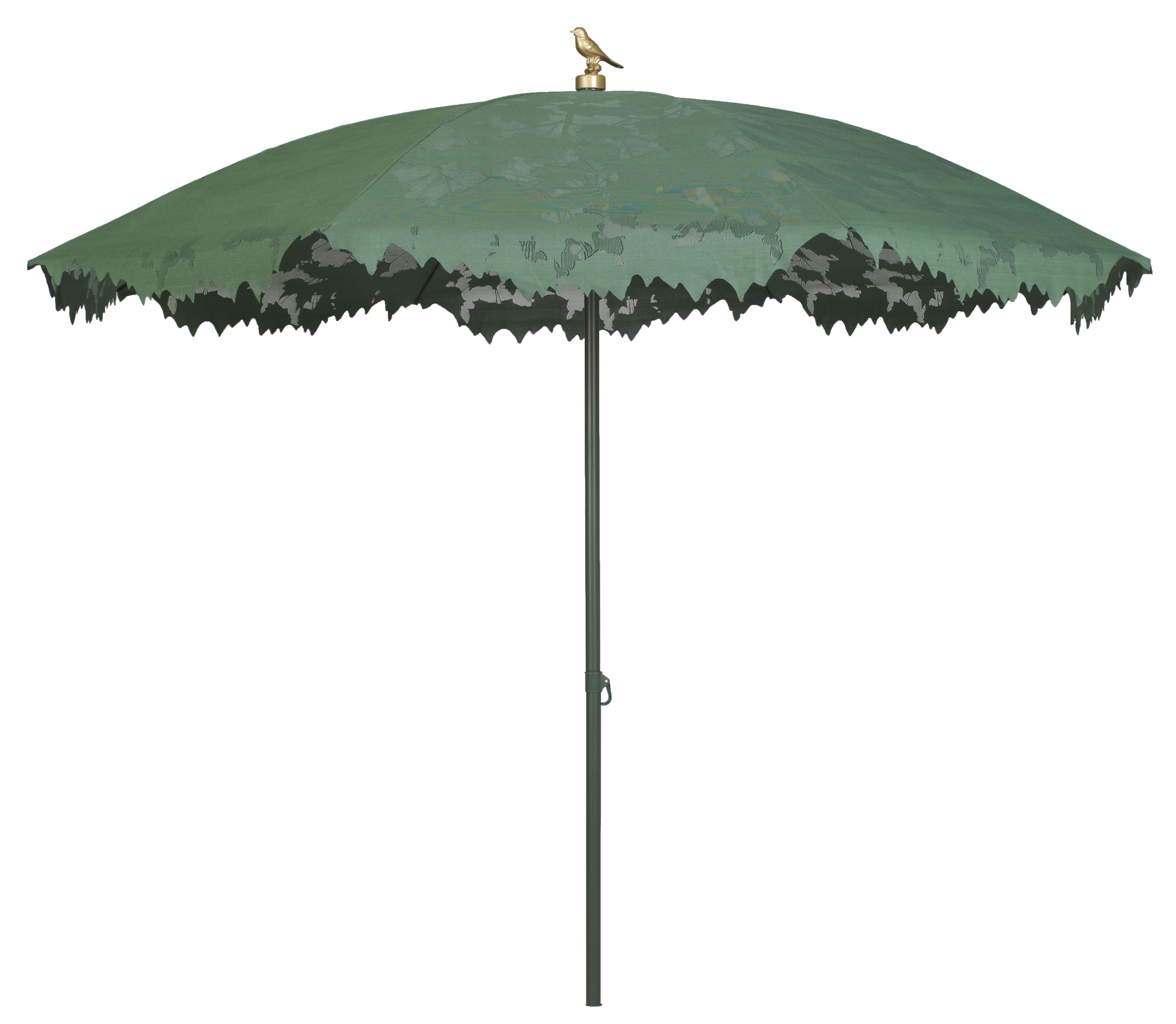 Outdoor - Ombrelloni - Ombrellone Shadylace - Ø 215 cm di Symo - Ombrellone verde / palo legno / uccello dorato - Alluminio, Tela poliestere