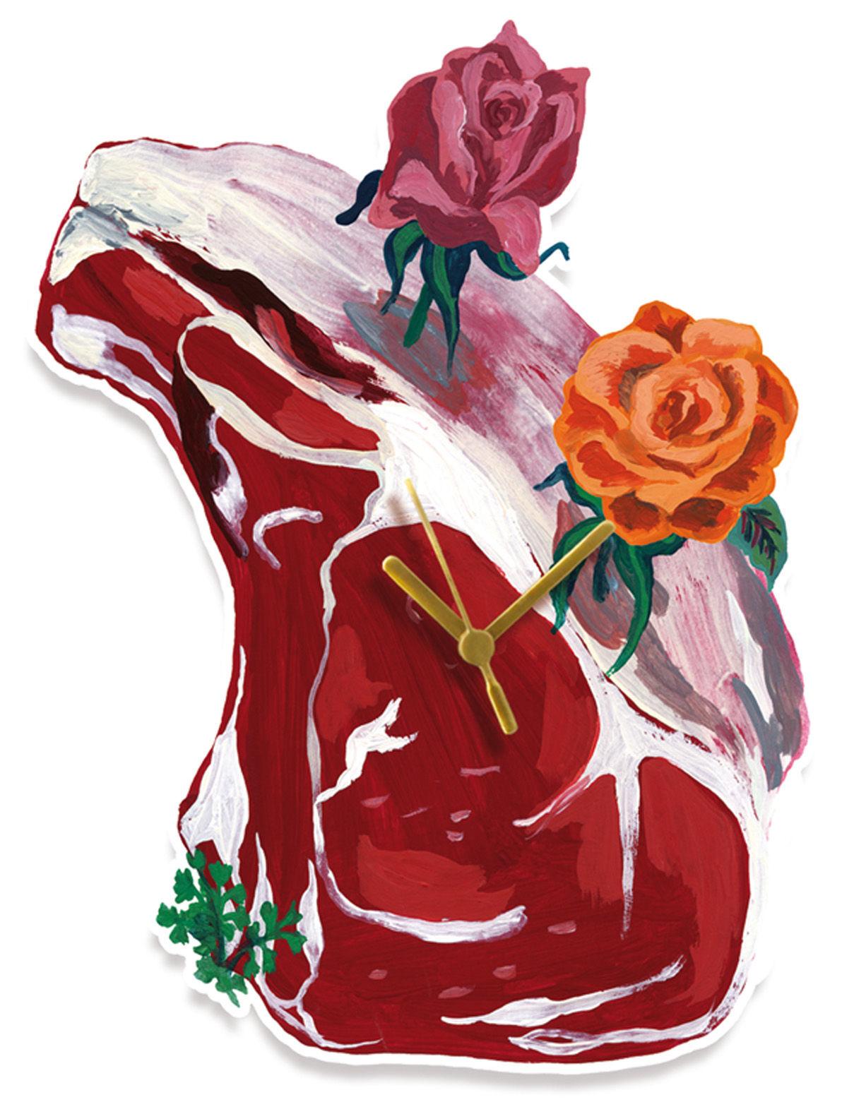 Interni - Insoliti e divertenti - Orologio murale Pièce de boucher di Domestic - Pièce de boucher - Forex stampato