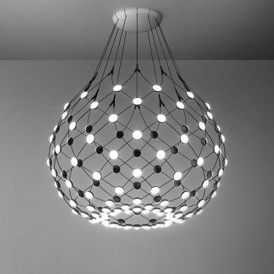 Leuchten - Pendelleuchten - Mesh LED Medium Pendelleuchte / Ø 80 cm x H 60 cm - Luceplan - Ø 80 cm / schwarz - Polykarbonat, Stahl