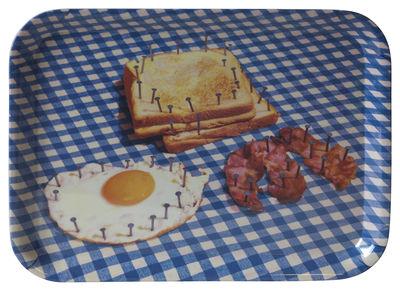 Plateau Toiletpaper / Breakfast - 43 x 32 cm - Seletti blanc,bleu en matière plastique
