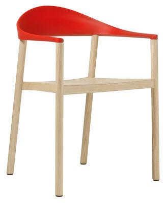 Image of Poltrona impilabile Monza - Struttura in legno naturale di Plank - Rosso/Legno naturale - Materiale plastico/Legno