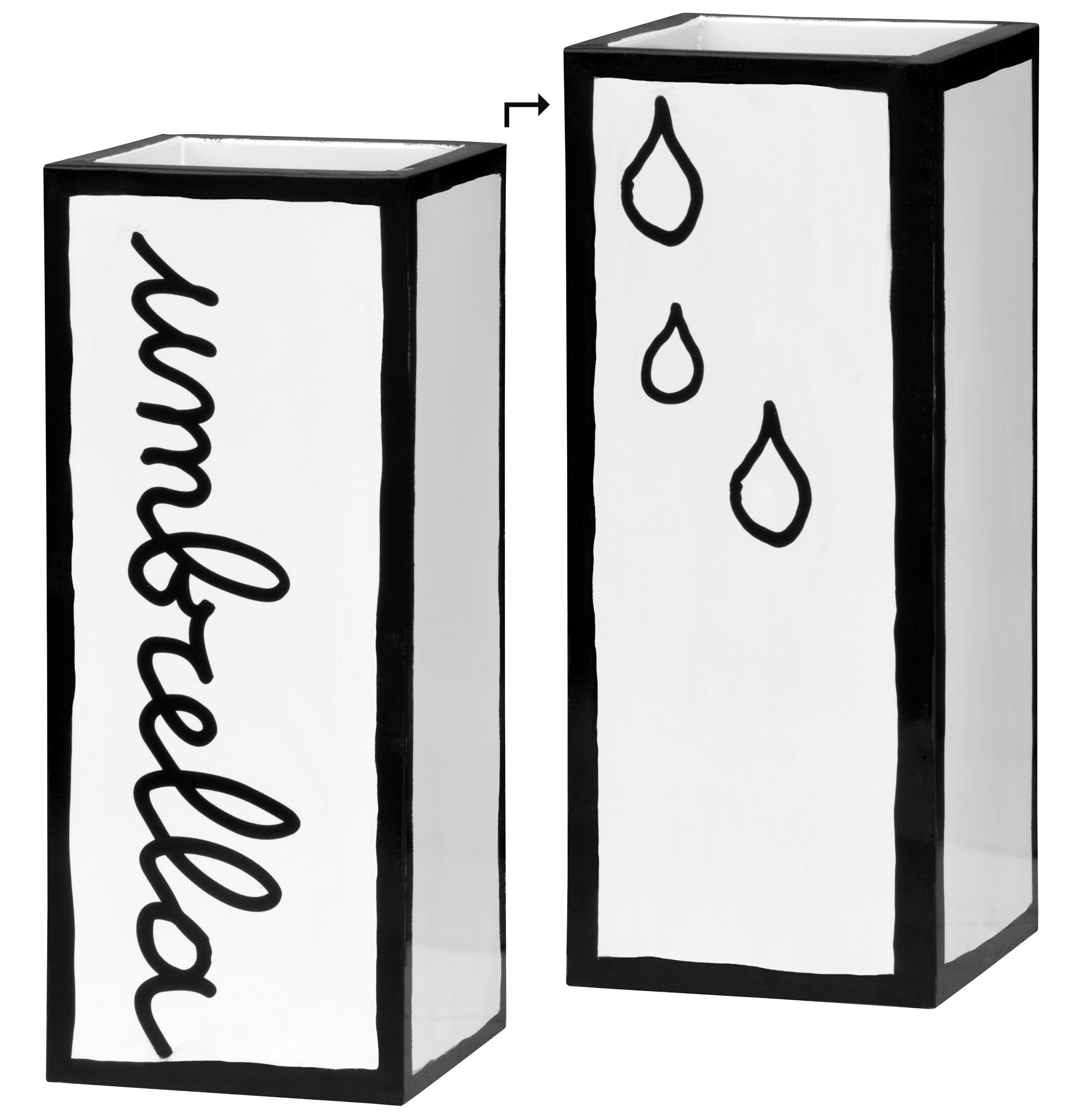 Interni - Pratici e intelligenti - Portaombrelli Umbrella - H 54 cm di Seletti - Bianco & nero - Metallo