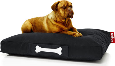 Furniture - Poufs & Floor Cushions - Doggielounge Stonewashed Pouf - Large by Fatboy - Black - Cotton