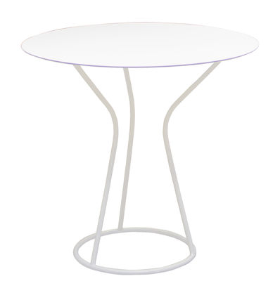 Outdoor - Garden Tables - Solea Round table - Ø 70 cm by Serralunga - White - Lacquered metal, Laminated HPL