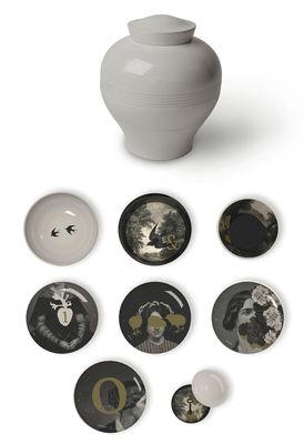 Arts de la table - Assiettes - Service de table Yuan d'Antan /8 pièces empilable - Ibride - Blanc /  Motifs gris & or (D'Antan) - Mélamine