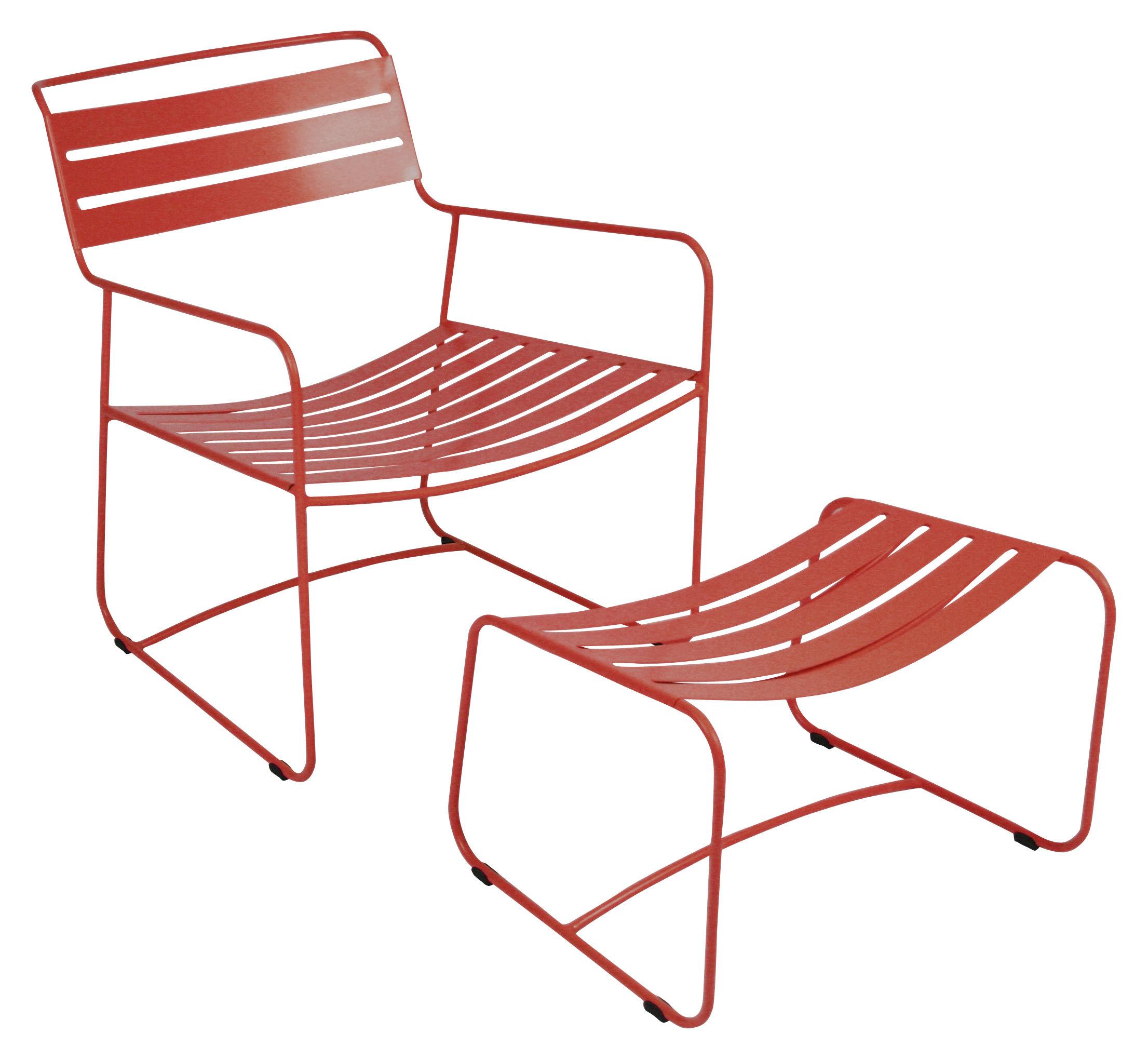 Mobilier - Fauteuils - Set fauteuil & repose-pieds Surprising Lounger - Fermob - Coquelicot - Acier