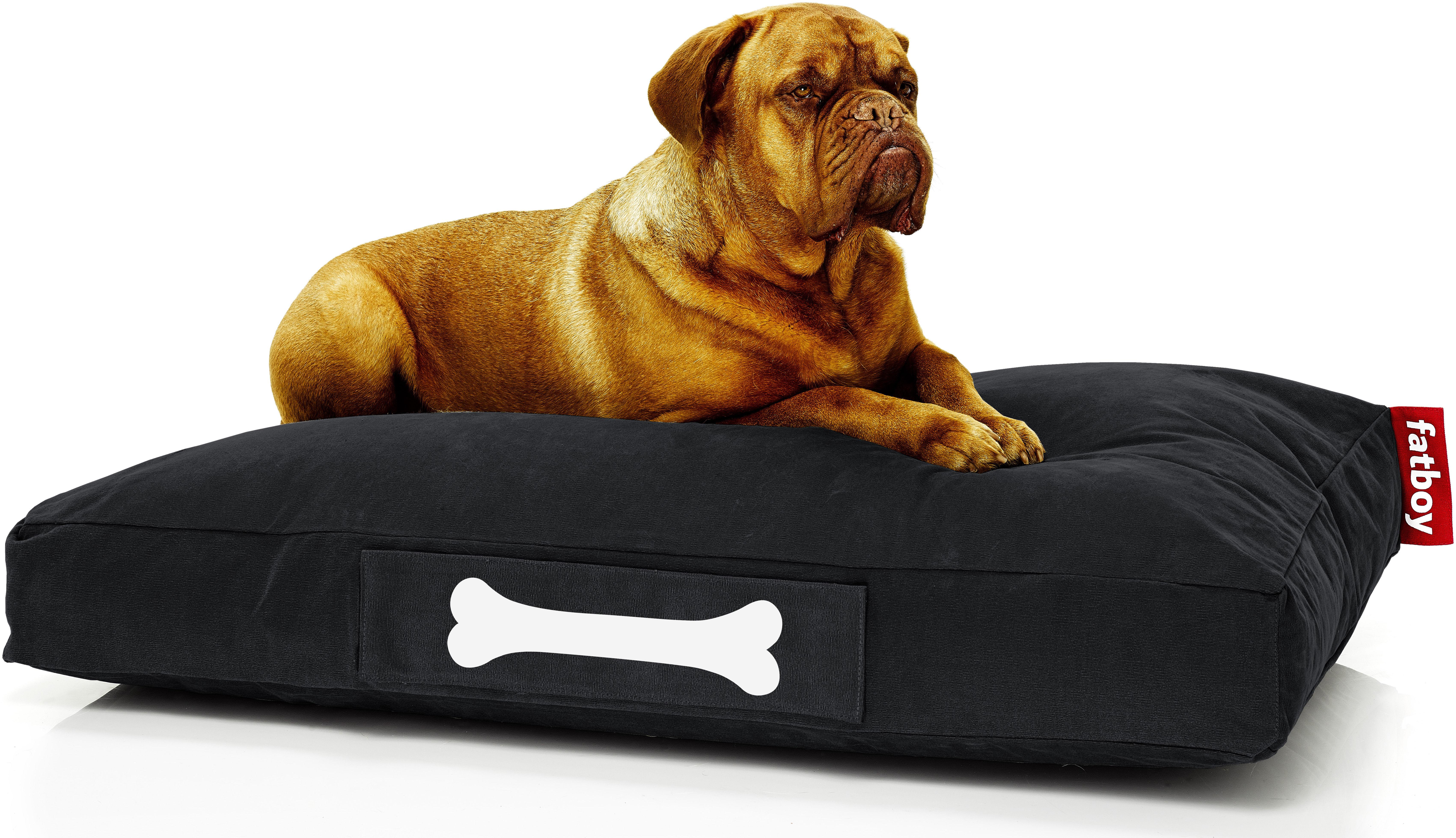 Möbel - Sitzkissen - Doggielounge Stonewashed Sitzkissen / Large - Fatboy - Schwarz - Baumwolle
