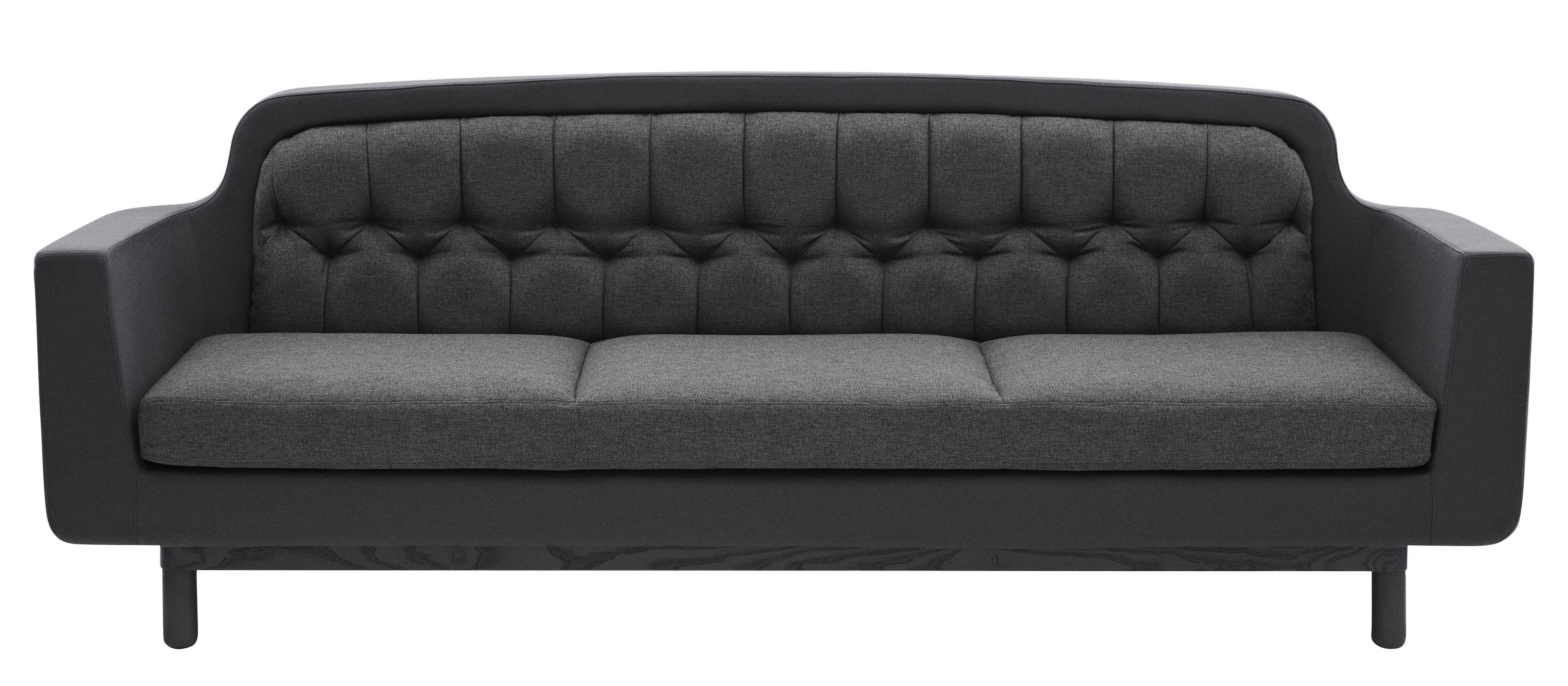 Möbel - Sofas - Onkel Sofa B 235 cm - 3-Sitzer - Normann Copenhagen - Dunkelgrau - Holz