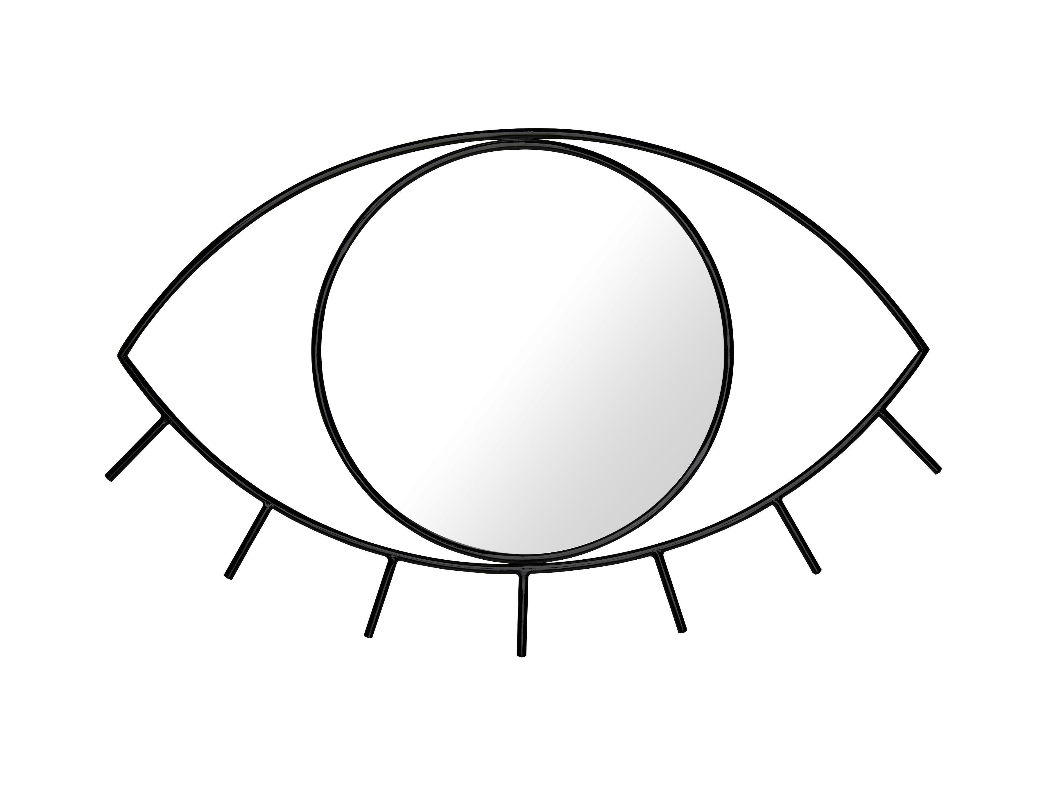 Interni - Specchi - Specchio murale Cyclops Medium - / L 43 x H 28 cm di Doiy - Medium / Nero - Metallo, Vetro