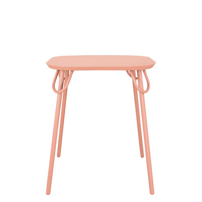 Outdoor - Garden Tables - Swim Duo Square table - / 63 x 63 cm - Metal by Bibelo - Candy floss pink - Epoxy lacquered steel