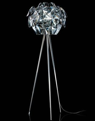 Leuchten - Stehleuchten - Hope Stehleuchte / mit dreifüßigem Ständer - H 198 cm - Luceplan - Transparent - dreifüßiger Ständer - polierter rostfreier Stahl, Polykarbonat