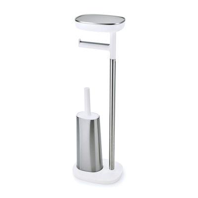 Accessoires - Accessoires salle de bains - Support papier toilette EasyStore / Avec brosse Flex Steel & rangement - Joseph Joseph - Acier & blanc - Acier inoxydable, Matière plastique