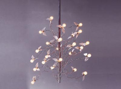 Luminaire - Suspensions - Suspension Birds Birds Birds - Ingo Maurer - Blanc / Câbles colorés : rouges & bleus - Métal, Plume, Verre