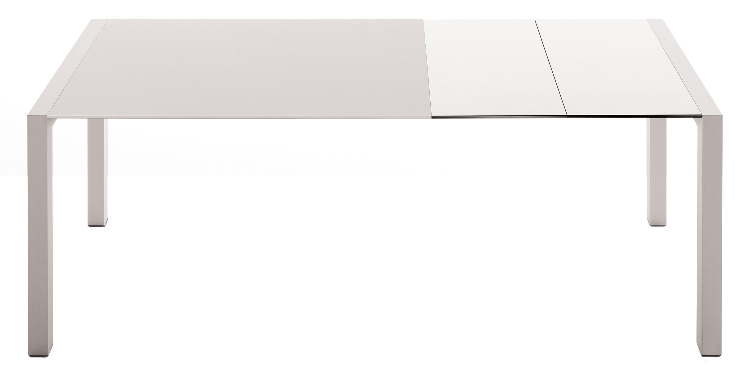 Tendances - À taaable ! - Table à rallonge Sushi / L 150 à 225 cm - Kristalia - Plateau verre blanc / Rallonges laminé blanc - Aluminium anodisé, Laminé stratifié, Verre verni