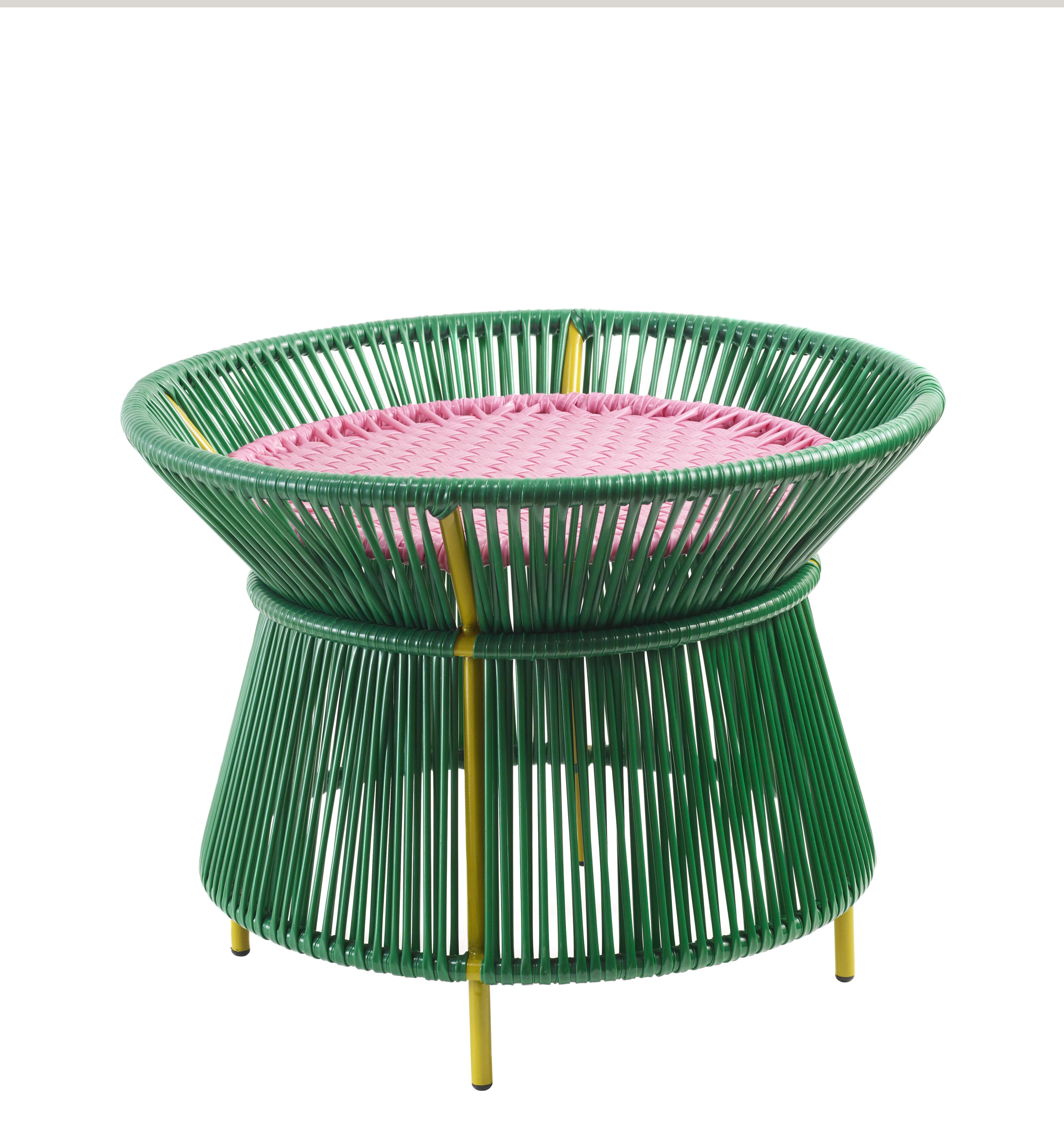 Mobilier - Tables basses - Table basse Caribe Basket / Ø 54 x H 41 cm - ames - Vert & rose / Pieds curry - Acier galvanisé thermo-laqué, Fils de plastique recyclé