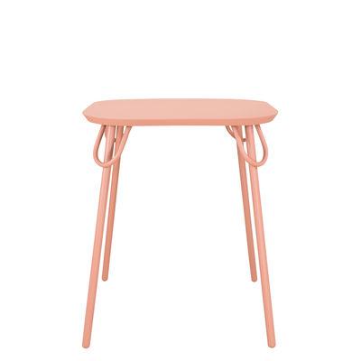 Jardin - Tables de jardin - Table carrée Swim Duo / 63 x 63 cm - Métal - Bibelo - Rose Barbe à Papa - Acier laqué époxy