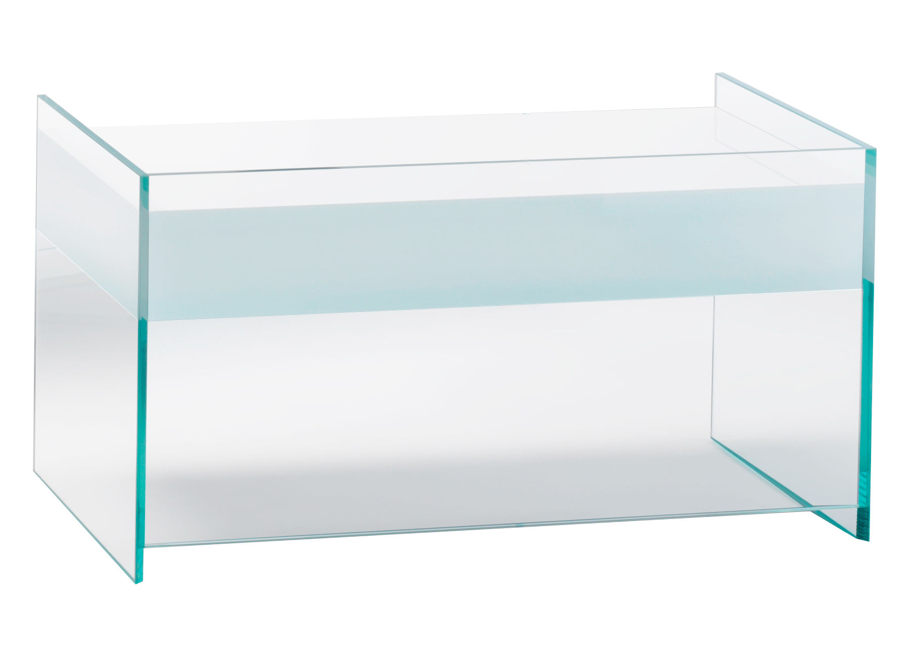Mobilier - Tables de chevet - Table d'appoint Float / 1 tiroir - L 63 x H 45 cm - Glas Italia - Blanc - Cristal, Wengé