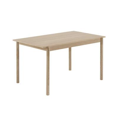 Furniture - Dining Tables - Linear WOOD Table - / Wood - 140 x 85 cm by Muuto - Oak / 140 x 85 cm - Oak plywood, Solid oak