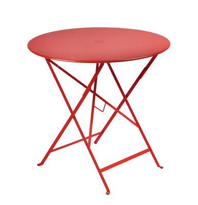 Table pliante Bistro / Ø 77cm - Trou pour parasol - Fermob coquelicot en métal