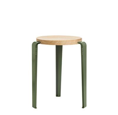 Mobilier - Tabourets bas - Tabouret empilable Lou / H 45 cm - Acier & chêne - TIPTOE - Vert Romarin / Chêne - Acier thermolaqué, Chêne massif