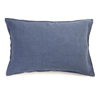 Dekoration - Wohntextilien - Taie d'oreiller 50 x 70 cm / 50 x 70 cm - Leinen gewaschen - Au Printemps Paris - Mini-Hahnentrittmuster blau - Lin lavé