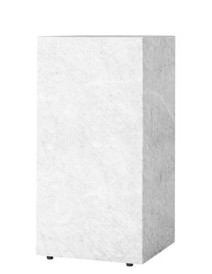 Arredamento - Tavolini  - Tavolino Plinth Tall / Marmo - 30 x 30 x H 51  cm - Menu - Bianco - Legno di acacia, Marmo
