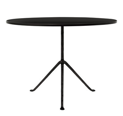 Outdoor - Tavoli  - Tavolo Officina Outdoor / Ø 100 cm - Piano acciaio - Magis - Acciaio nero / Gambe nere - Acciaio, Ferro