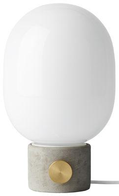 Leuchten - Tischleuchten - JWDA Tischleuchte / Beton - Menu - Beton, grau / Diffusor weiß - Beton, Glas, Messing