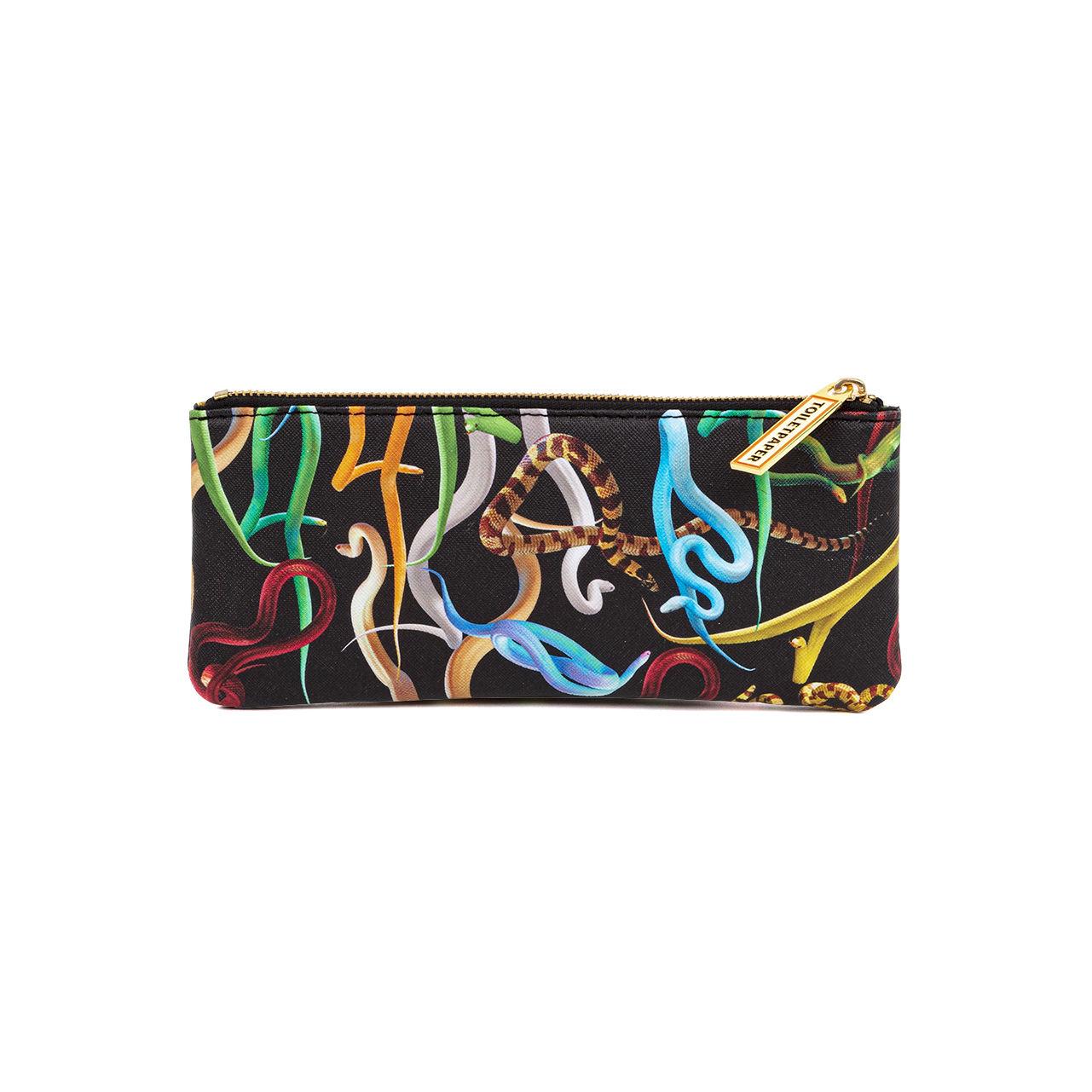 Accessori moda - Borse, Valigie e Portafogli - Trousse Toiletpaper - / Snakes - Tessuto di Seletti - Snakes - Poliestere, Poliuretano