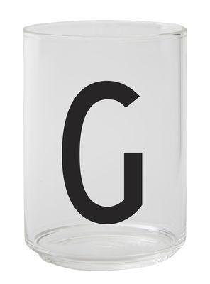 Verre Arne Jacobsen / Verre borosilicaté - Lettre G - Design Letters transparent en verre