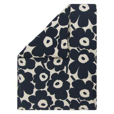 Decoration - Bedding & Bath Towels - Unikko 2 persons duvet cover - / 240 x 220 cm by Marimekko - Unikko / Beige cotton & dark blue - Cotton, Linen