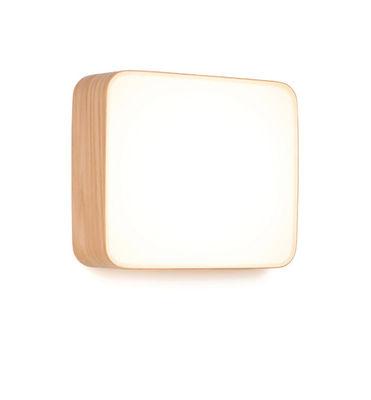 Applique Cube Large / Plafonnier LED - 28 x 25 cm - Tunto blanc,chêne clair en bois