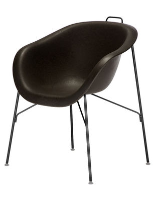 Furniture - Chairs - Eu/phoria Woodstock Armchair - Plastic seat by Eumenes - Black structure / Black shell - Polypropylene, Varnished steel, Wood