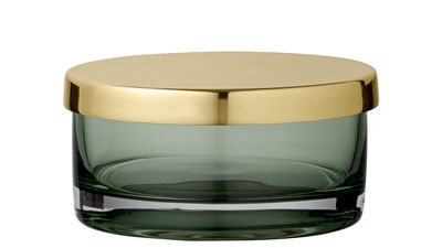 Boîte Tota Small / Cylindre - Ø 9 x H 4,5 cm - AYTM vert/or en métal/verre