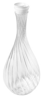 Tableware - Water Carafes & Wine Decanters - Spirale Carafe - / With Corolle cork by L'Atelier du Vin - Transparent / white fabric lid - Mouth blown glass