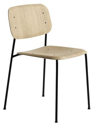 Chaise empilable Soft Edge 10 / Bois & Métal - Hay noir,chêne naturel en bois