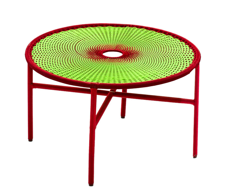 Furniture - Coffee Tables - M'Afrique - Banjooli Coffee table - / Ø 50 x H 46 cm by Moroso - Vert / Rouge - Braided polyethylene, Lacquered steel